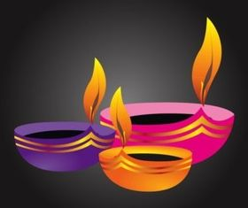 Diwali Lamps vectors graphic