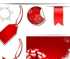 Red Xmas Elements vectors