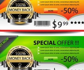 Color Offer Web Banners vector