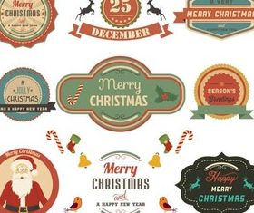 Retro X-mas Labels vector