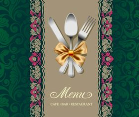 Floral Restaurant menu cover vector graphic