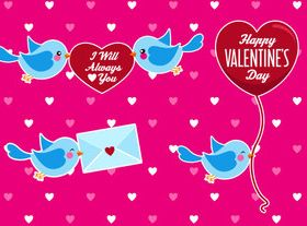 Valentine and cute birds vector