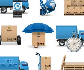 Logistics and transport icons 3 vector