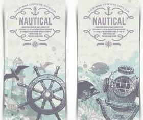 Vintage Nautical banner shiny vector
