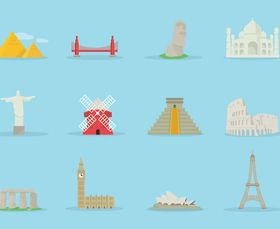 World famous buildings vector