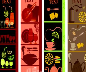 Cute coffee elements banner design vectors
