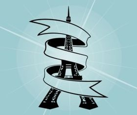 Eiffel Tower Ribbon vector