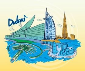 Dubai Travel Graphic vector material