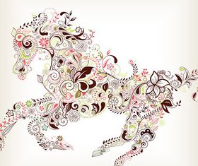 Floral horse vector