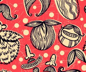 Mustache seamless orange pattern Illustration vector