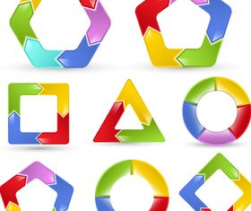 Colored Web Processing Icons vector