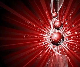 Christmas baubles and Red background vector