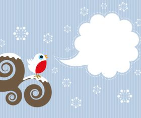 cute bird and text cloud vectors material