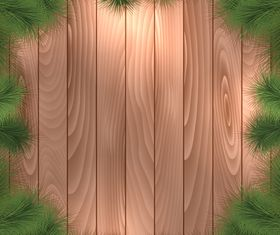 Christmas tree branches and wood background vector