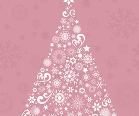 Christmas tree pink background vector