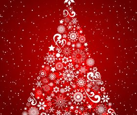Christmas tree red background vector design