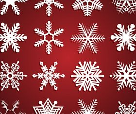 Beautiful snowflake vector set