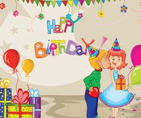 Sweet birthday cards vector
