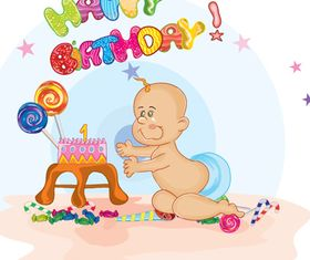 Baby and birthday cake vector graphic