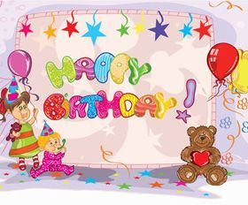 Kids happy birthday background vector