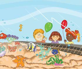 Underwater World background vector