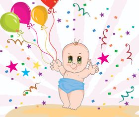 Cute baby and colored balloon vector material