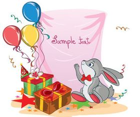 balloon gift box rabbit vector