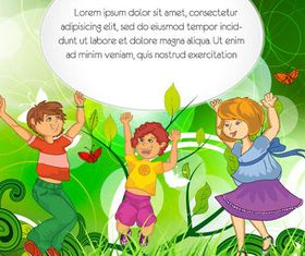 Meadow kids set vector