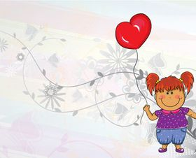 Child and balloon vectors material