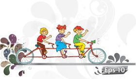 Children Cycling background vector