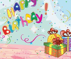 Birthday gift card vector set