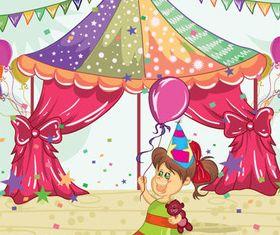 Kids and balloon vector