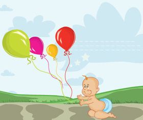 Baby and balloon vector