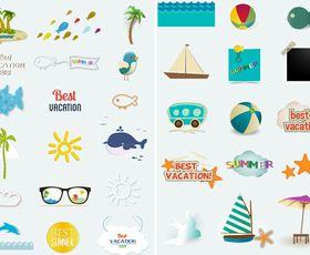 Summer travel icons vectors graphics