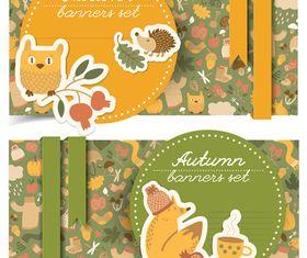 Cartoon autumn banner 2 vector
