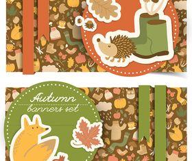 Cartoon autumn banner 5 vector