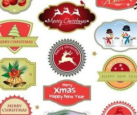 Shiny X-mas Labels vector