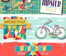 Retro hipster banner 1 vector graphic