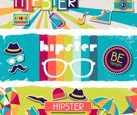 Retro hipster banner 2 vector graphic