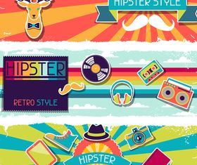 Retro hipster banner 3 vector graphic