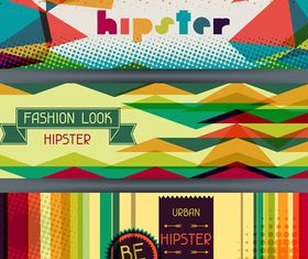 Retro hipster banner 6 vector graphic