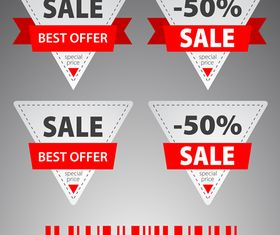 Ribbon sale labels 3 vector