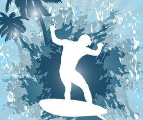 Surfer Silhouette background vector set