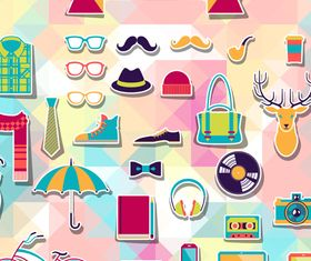 hipster sticker elements 1 vector
