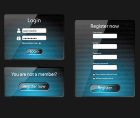 Glass login boxes 1 vector