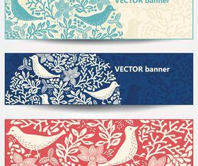 Hand draw bird banner vector