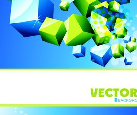 3D cube background set 2 vector