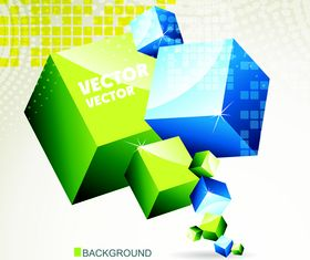 3D cube background set 3 vector