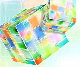 3D cube background set 4 vector