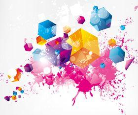 Splash color cube background vectors